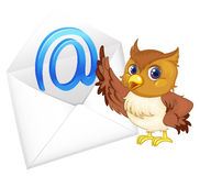 Owl with mail envelop. Illustration of a owl with mail envelop on a white background Royalty Free Stock Image