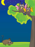 Owl Mama Fat Mouse Night Image stock