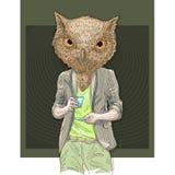Owl man drinking coffee Stock Photos