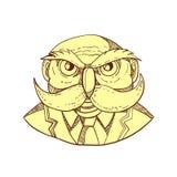 Owl Man Mustache Doodle Color arrabbiato illustrazione di stock