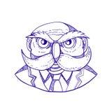 Owl Man Mustache Doodle irritado ilustração royalty free