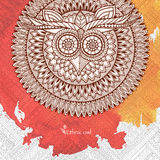 Owl mandala with abstract ethnic ornament pattern, colorful watercolor background. Royalty Free Stock Image