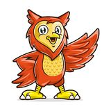 Owl mascot character, vector of owl cartoon smiling and standing up stock image