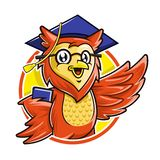 Owl mascot character wearing glasses and graduation cap holding book, Education mascot royalty free stock image