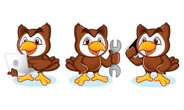 Owl Mascot Vector with phone Stock Photo
