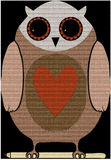 Owl mat. Stylised clothlike owl with a heart Royalty Free Stock Photography
