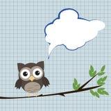 Owl med anförandebubblan Fotografering för Bildbyråer