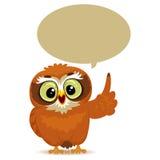 Owl med anförandebubblan stock illustrationer