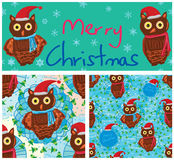 Owl Merry Christmas frame seamless pattern Royalty Free Stock Photos