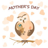 Owl Mom and Baby Stock Images