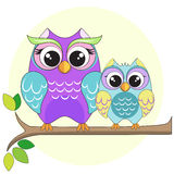 Owl mom with son vector illustration