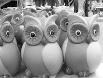 Owl: money box black and white. Owl toy : money box black and white Royalty Free Stock Photos
