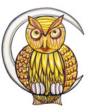 Owl on the Moon. Clip art illustration of an owl on the moon Royalty Free Stock Photography
