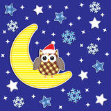 Owl and moon Royalty Free Stock Photography
