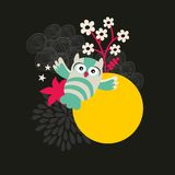 Owl with the moon banner. Royalty Free Stock Images
