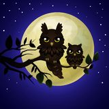 Owl and moon Royalty Free Stock Photo