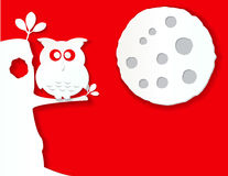 Owl and moon in paper effect. With red background and tree royalty free illustration