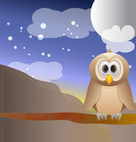 Owl and the moon Royalty Free Stock Photos