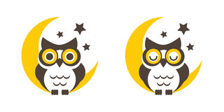 Owl with moon and stars. Owl cartoon on the moon and stars background, vector, icon, graphic ,symbol