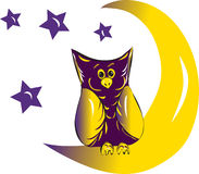 Owl moon and stars Royalty Free Stock Image