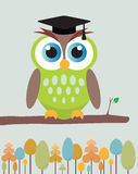Owl with mortar board hat. stock illustration