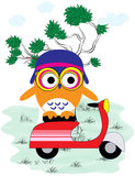 Owl with motorcycle Stock Images