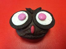 Owl muffin. Muffin with the face of a owl Royalty Free Stock Photos