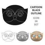 Owl muzzle icon in cartoon style isolated on white background. Animal muzzle symbol stock vector illustration. Stock Photography