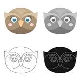 Owl muzzle icon in cartoon style isolated on white background. Animal muzzle symbol stock vector illustration. Royalty Free Stock Images