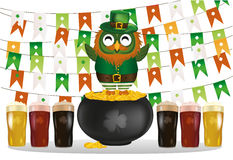 An owl in a national costume for a patrician`s day stands on  pot Royalty Free Stock Photos