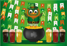 An owl in a national costume for a patrician`s day stands on pot Royalty Free Stock Images