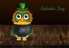 An owl in a national costume for a patrick`s day holds a pot o. F gold. Greeting card for the holiday with a blank space for text or advertising. Invitation Royalty Free Stock Images
