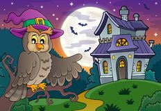 Owl near haunted house theme 1 Stock Photos