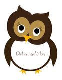 Owl we need is love Stock Photography