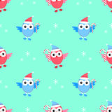 Owl new year seamless pattern vector. Happy Stock Image