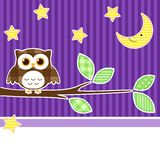 Owl at night. Card with owl on branch at night stock illustration