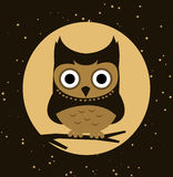 Owl at night. Little Owl Perching at night,  illustration Stock Images