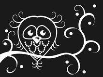 Owl at night. Owl sitting on a branch stock illustration