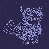 Owl in the night sky vector illustration Royalty Free Stock Image