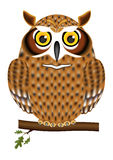 The owl in an oak branch Stock Image