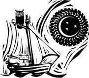 Owl och kisse Arkivbild