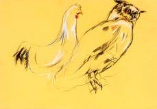 Owl- och roostermålning Arkivbilder