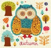 Owl och trees Royaltyfri Bild