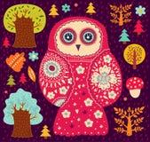 Owl och trees Arkivbild