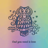 Owl om the branch silhouette with funny statement. About love. Card template. Rainbow plygonal background Stock Photo