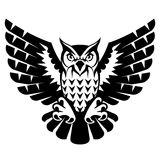 Owl with open wings and claws. Black and white tattoo of eagle owl, front view. Qualitative vector illustration for circus, sports mascot, zoo, wildlife, nature vector illustration