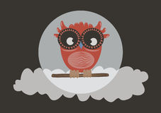 Owl orange. Owl on a branch with orange background and a cloud vector illustration