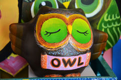Owl ornament wooden sculpture painted Royalty Free Stock Photography