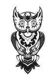 Owl with ornaments in the ethnic style. Pattern elements in a form of owl made in Stock Images
