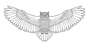 Owl outline emblem in hipster style, hand drawn royalty free illustration